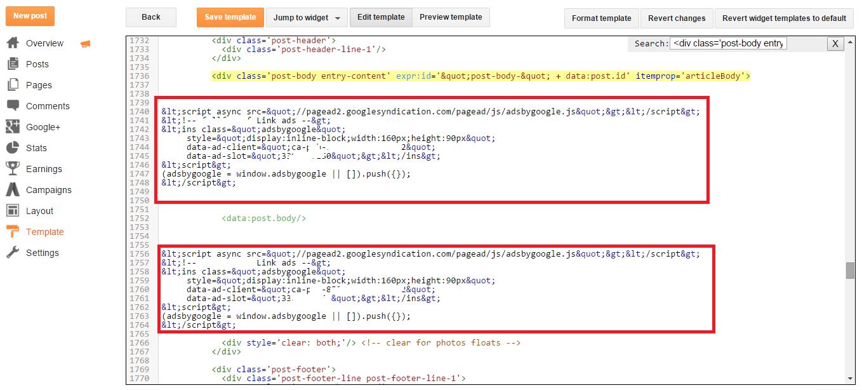 parsed ad code
