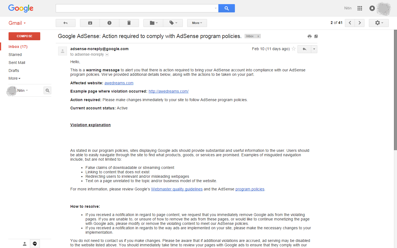 adsense-violations mail