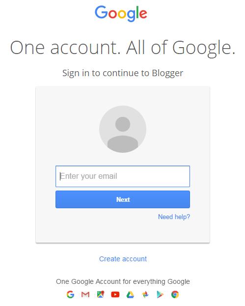 blogger login page