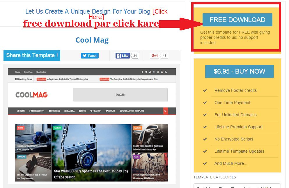 download coolmag blogger template