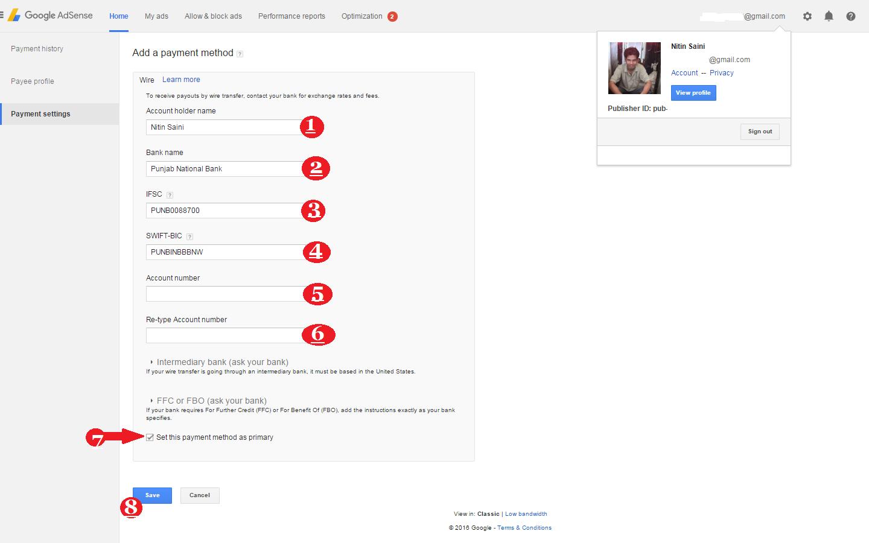 Google adsense payment kaise add kare