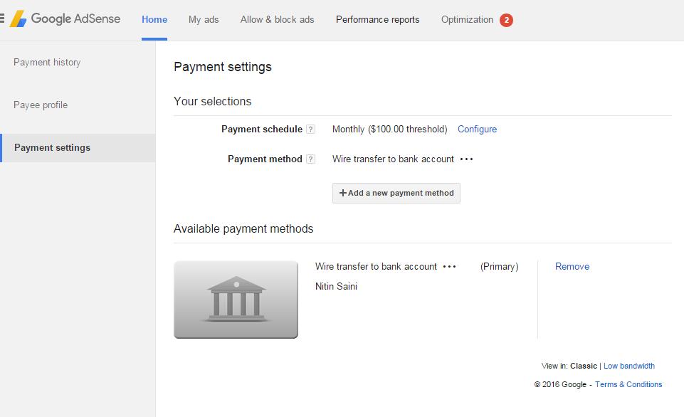 Google Adsense payment method setting