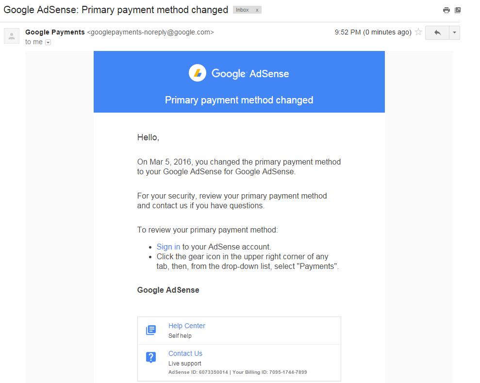 Add payment method to Google Adsense