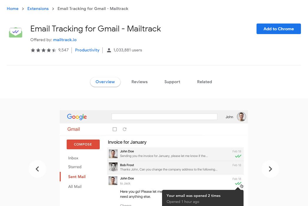 MailTrack installation